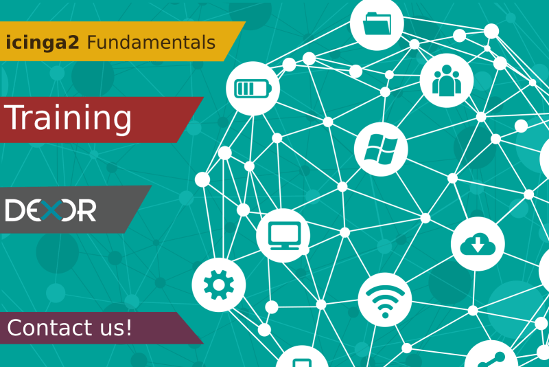 a banner with a connected graph of IoT with an ad of Icinga2 Fundamentals training
