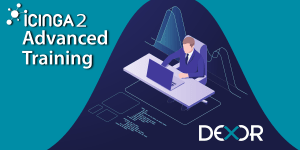 Icinga2 Advanced banner, dexor logo. man sits infornt of the desk with laptop