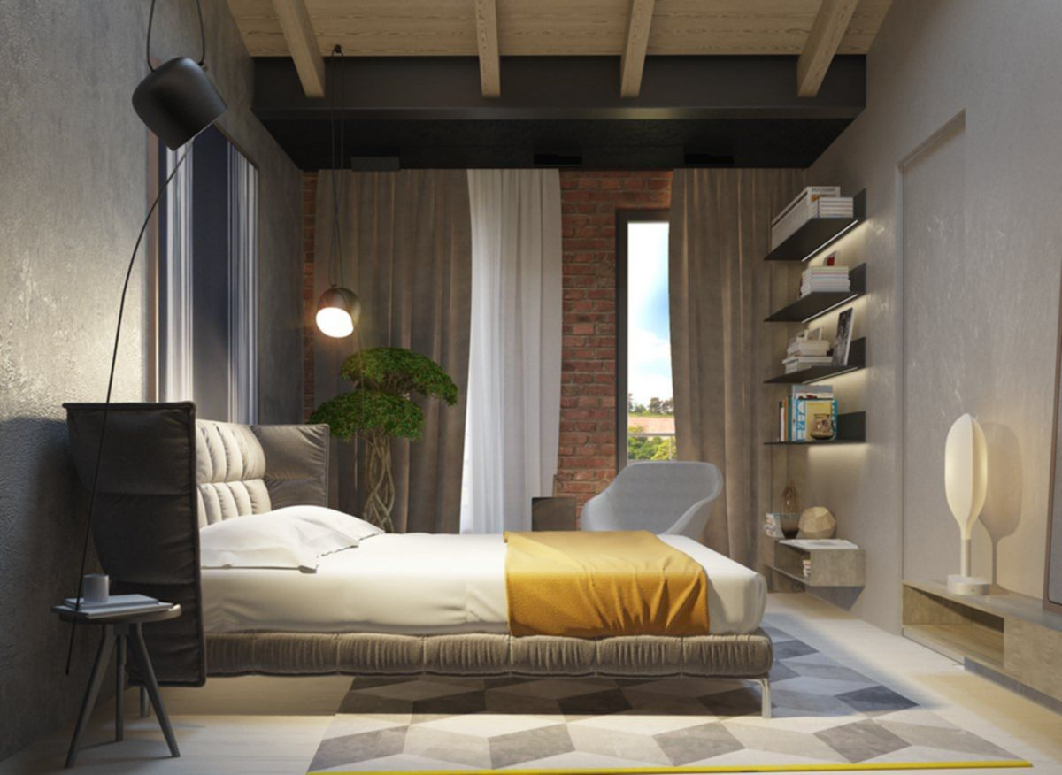 Artistic Bedroom Design With Cement Walls 02