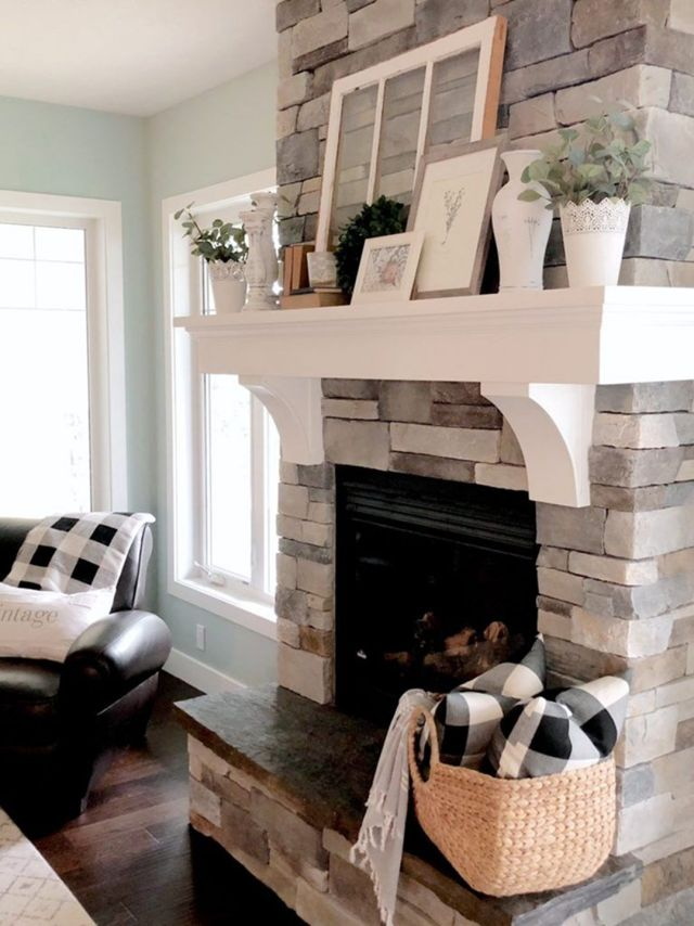 living room designs with fireplaces 2020 | 30 Gorgeous Farmhouse Fireplace Mantel Design and Decor ...