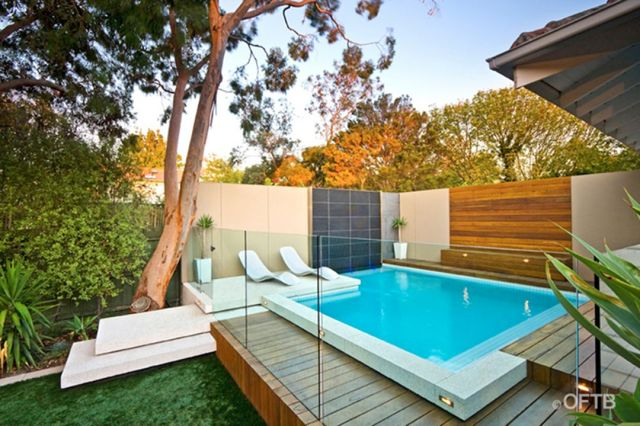 Natural White Backyard Pool Ideas