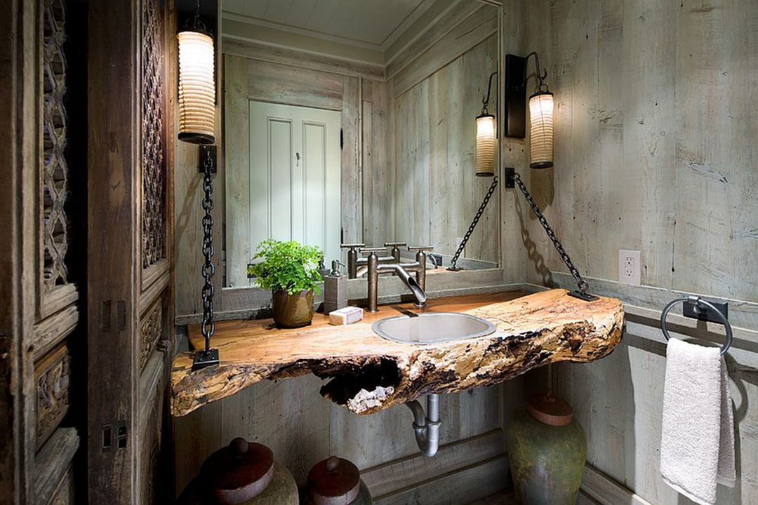 Awesome rustic bathroom with unique wooden vanity