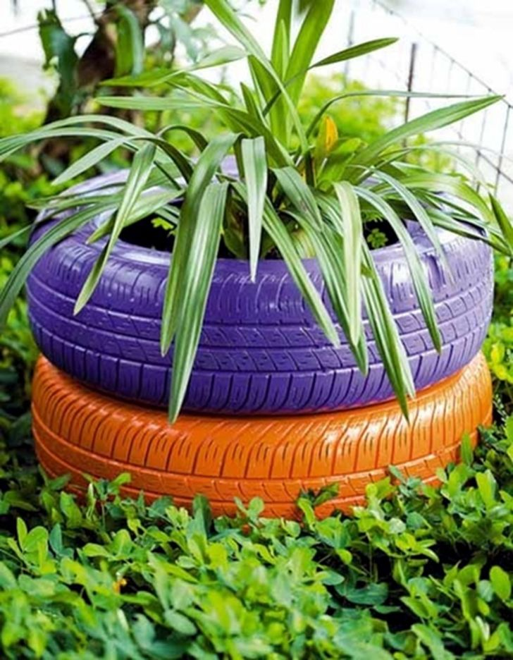 Make gardening ideas with old car tire