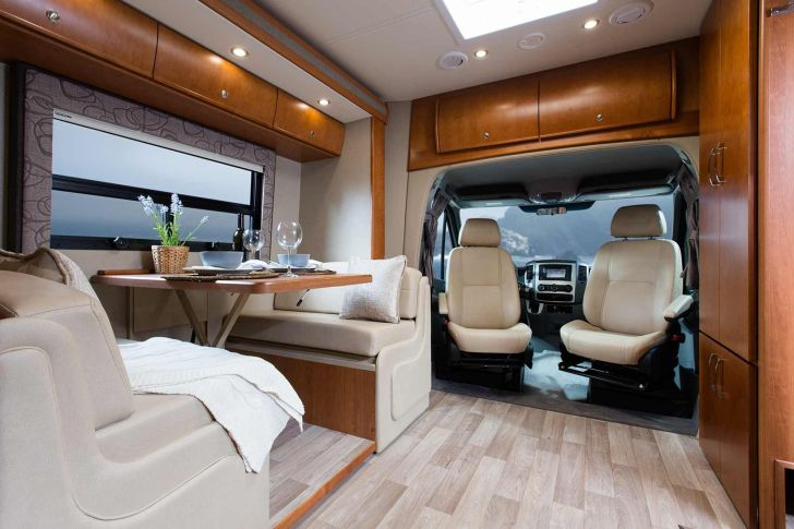 Top And Luxurious RV Camper Interior with Wooden Floor - Source pinterest.ru