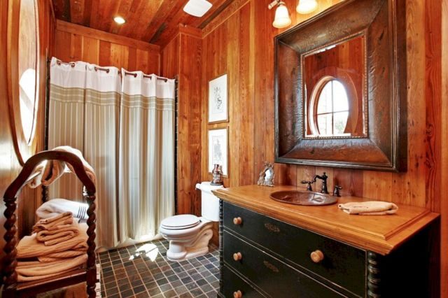 Rustic Bathroom With Wood Shower