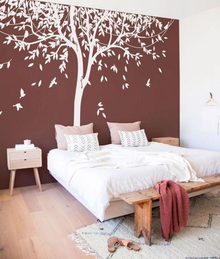 Awesome Tree Wall Bedroom Design