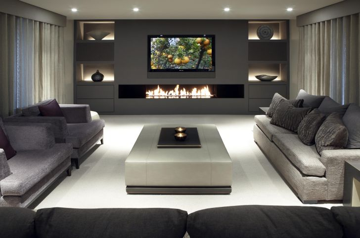 Living Room Wall TV With Fireplace