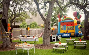 Cheerful Kids Summer Backyard Party