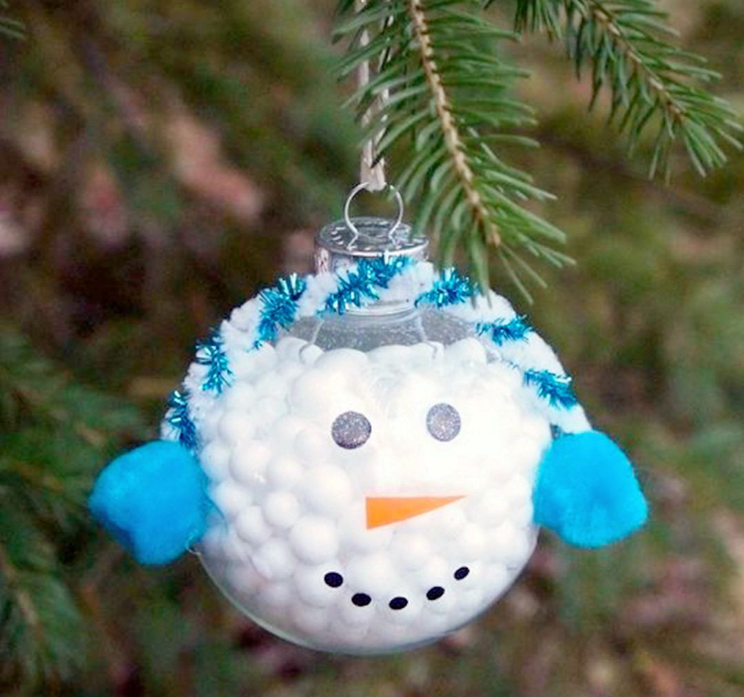 For Christmas this year, make your own Christmas ornaments like this snowman ornament. It is so cute with sparkling colors that kids will have more fun.