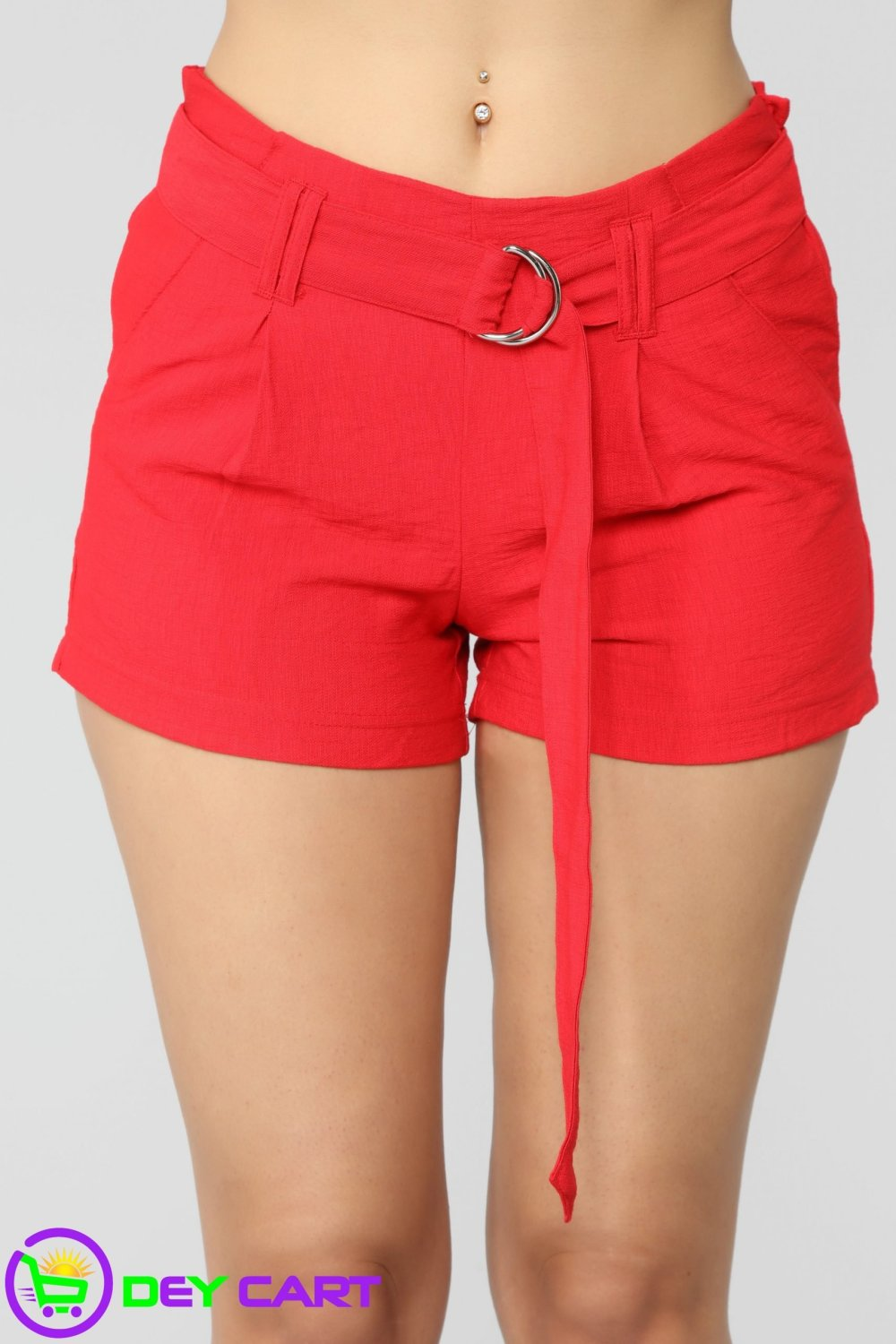 Belted High Rise Shorts - Red