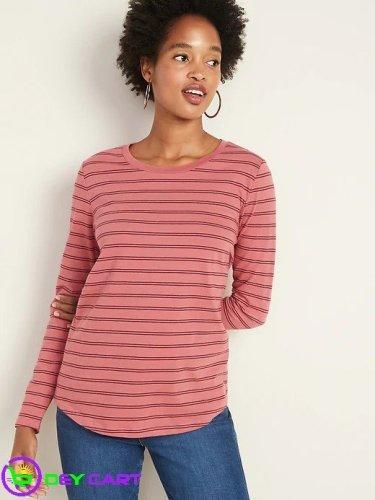 Old Navy Striped Long-Sleeve Tee - Pink Stripe 0