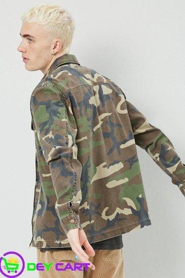 Forever21 Camo Zip-Front Jacket - Olive/Black 1