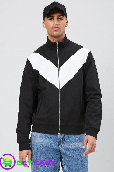 Forever21 Chevron Color Block Jacket - Black & White 0
