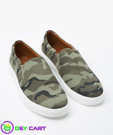 Forever21 Men's Camo Print Slip-Ons - Olive/Brown 0
