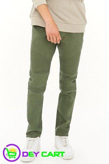 Forever21 Slim-Fit Biker Jeans - Olive 0