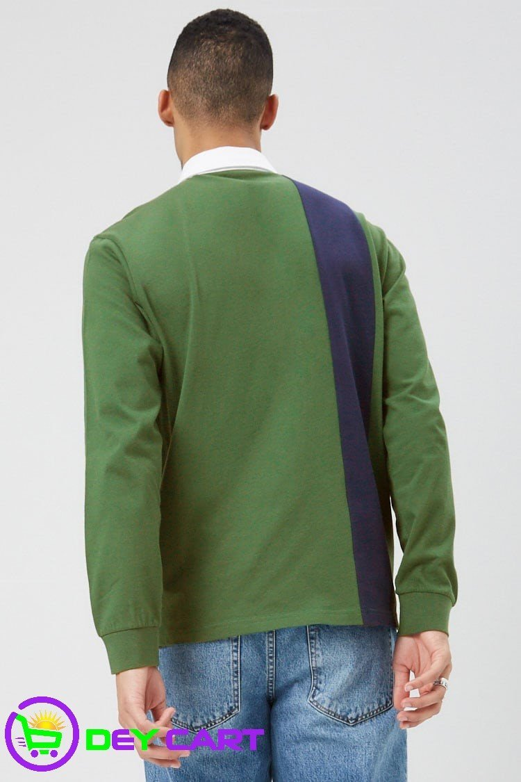 Forever21 Worldwide Color Block Polo - Green/Navy 1