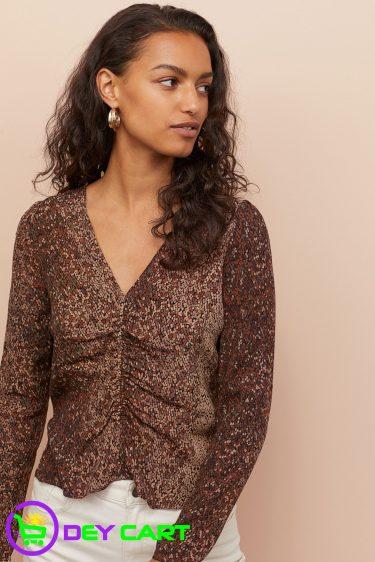 H&M Patterned V-neck Blouse - Brown 0