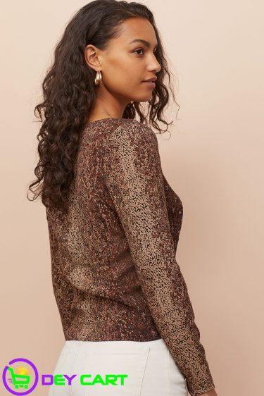 H&M Patterned V-neck Blouse - Brown 1