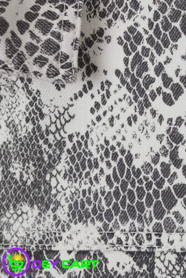 H&M Snakeskin Patterned Denim Jacket - Light Grey