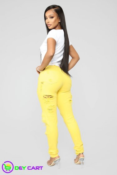High Rise Distressed Skinny Jeans - Yellow 1