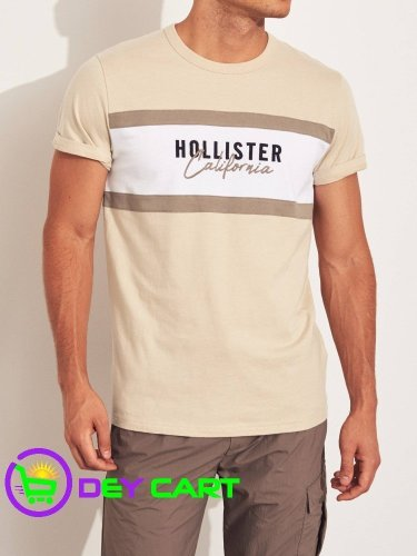 Hollister Colorblock Logo Graphic Tee - Tan & White 0
