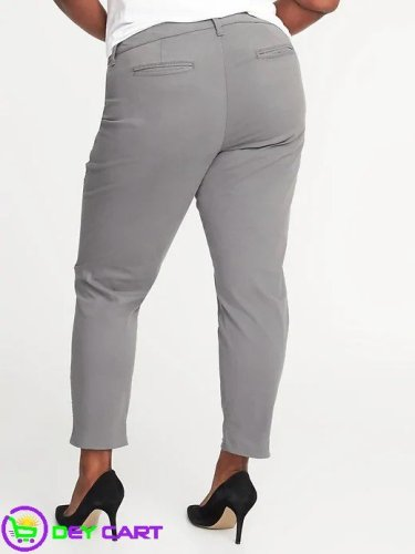 Old Navy Mid-Rise Plus-Size Pixie Chinos - Grey 1