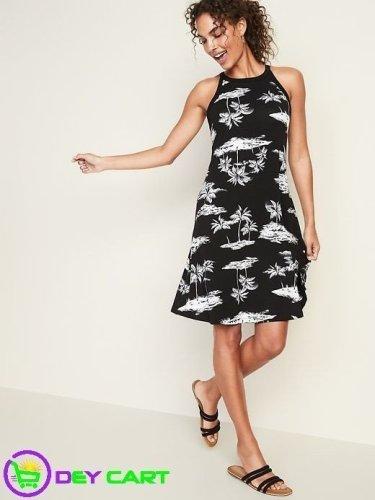Old Navy High-Neck Scenic Print Swing Dress - Black/White
