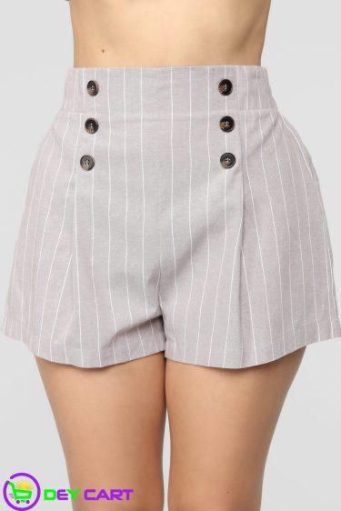 Fashion Nova Pull On Striped Shorts - Tan