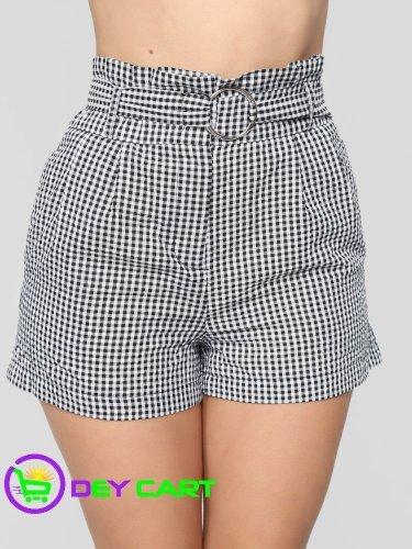Fashion Nova Belted Checker Girl Shorts - Black/White 0