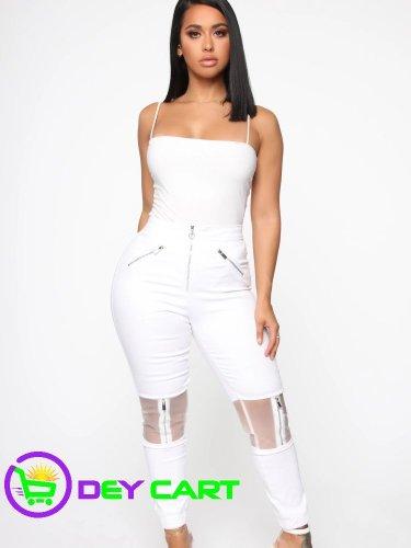 Fashion Nova Clear Panel Accents High Rise Jeans - White 0