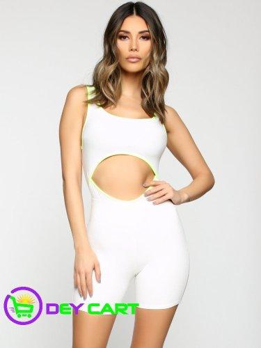 Fashion Nova Contrast Neon Cut Out Bodysuit - White/Neon Yellow