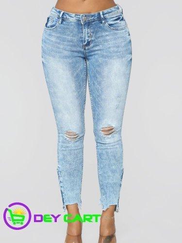 Fashion Nova Distressed Mid Rise Jeans - Acid Wash