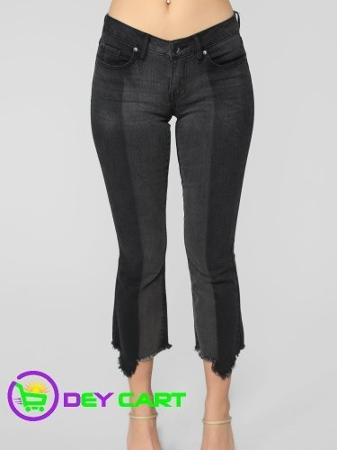 Fashion Nova Fray Hem Mid Rise Jeans - Black