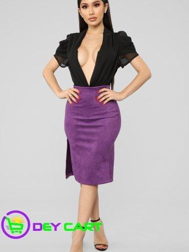 Fashion Nova Front Slit Faux Suede Skirt - Plum