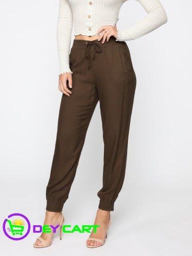 Fashion Nova Gold Hardware Detail Jogger Pants - Olive 0