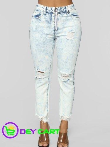 Fashion Nova High Rise Boyfriend Jeans - Bleach Wash Blue