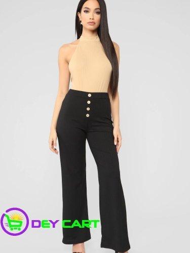 Fashion Nova High Rise Button Detailed Ribbed Pants - Black 0