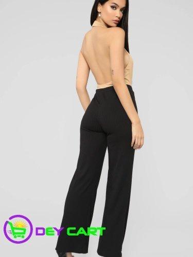 Fashion Nova High Rise Button Detailed Ribbed Pants - Black 1