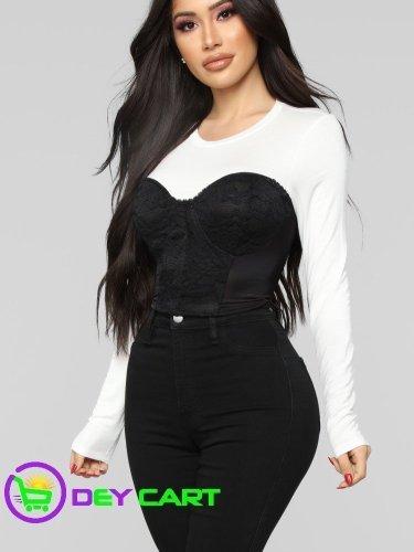 Fashion Nova Lace Detail Cropped Top - White/Black 0