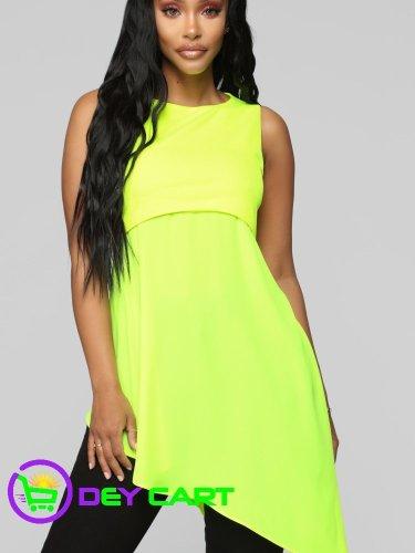 Fashion Nova Mesh Detail Tunic - Neon Green 0