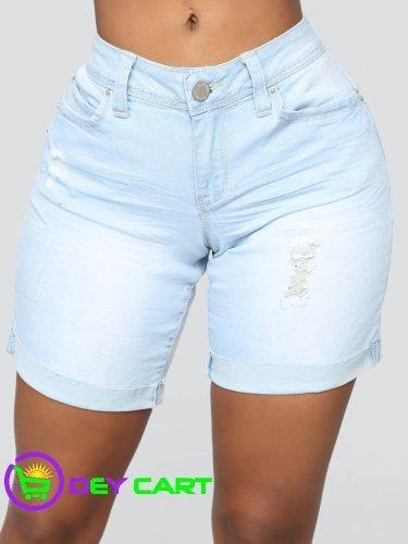 Fashion Nova Rolled Cuff Bermuda Shorts - Light Wash Blue