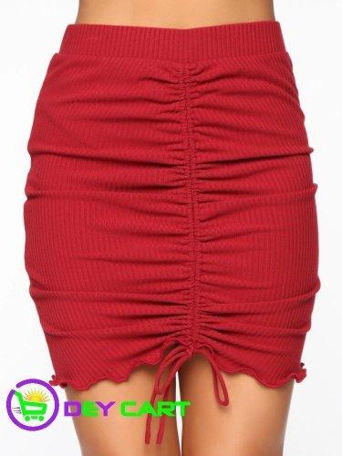 Fashion Nova Ruched Front Mini Skirt - Red 0