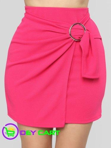 Fashion Nova Side Belt Closure Mini Skirt - Pink 0