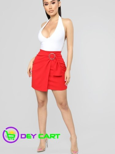 Fashion Nova Side Belt Closure Mini Skirt - Red