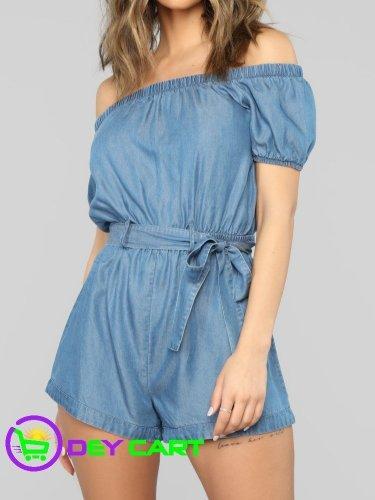 Fashion Nova Tie Belt Off Shoulder Romper - Blue Medium Wash 0