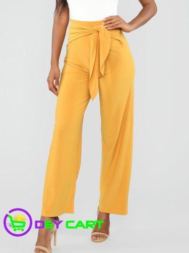 Fashion Nova Tie Waist Pants - Mustard 0