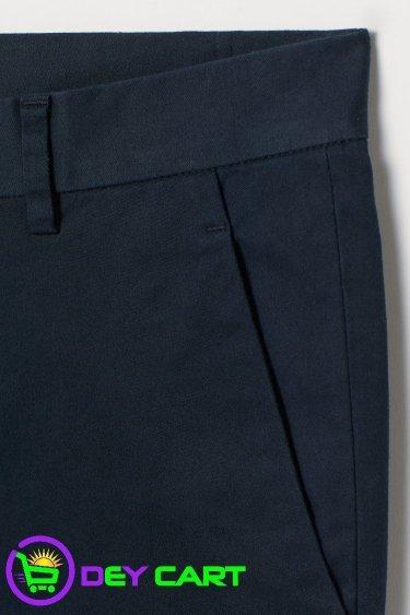 H&M Slim Fit Cotton Chinos - Dark Blue