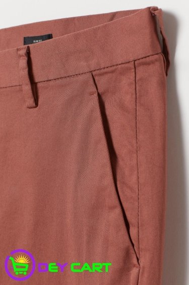 H&M Slim Fit Cotton Chinos - Rust Brown
