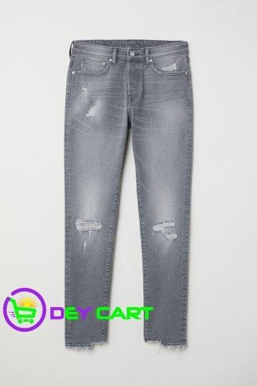 H&M Trashed Skinny Jeans - Light Denim Grey 0