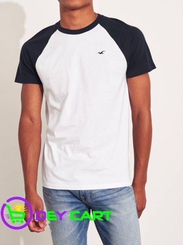 Hollister Raglan Logo T-Shirt - Navy & White 0